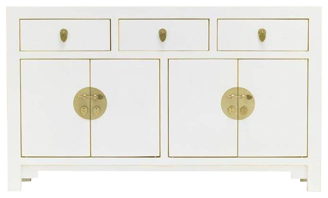Oriental Oyster Grey Large Sideboard With Cupboards and Drawers, White