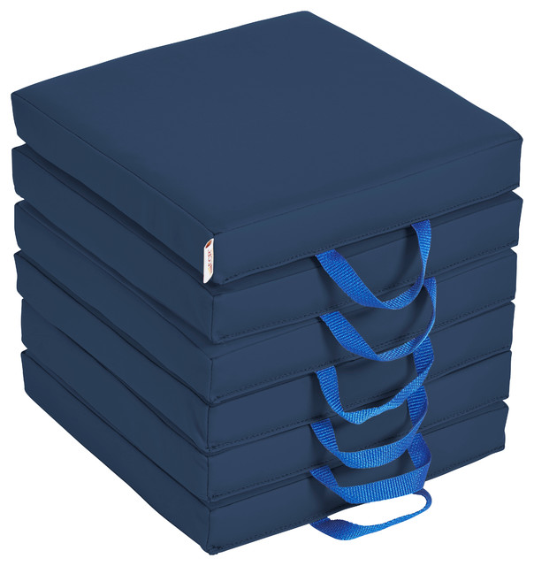 Softzone Square Floor Cushions With Handles, 6-Piece, Navy