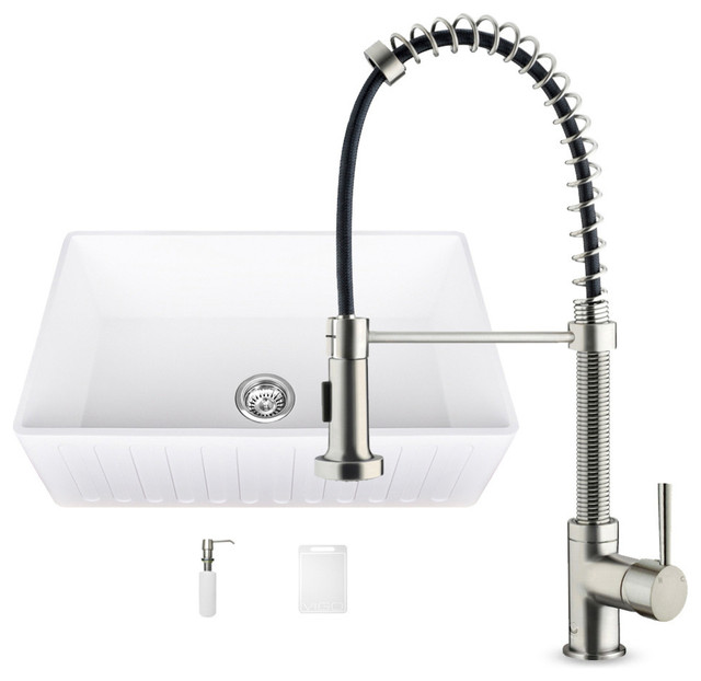 VIGO Industries VIGO Matte Stone Farmhouse Sink and Edison Faucet Set 33&quo