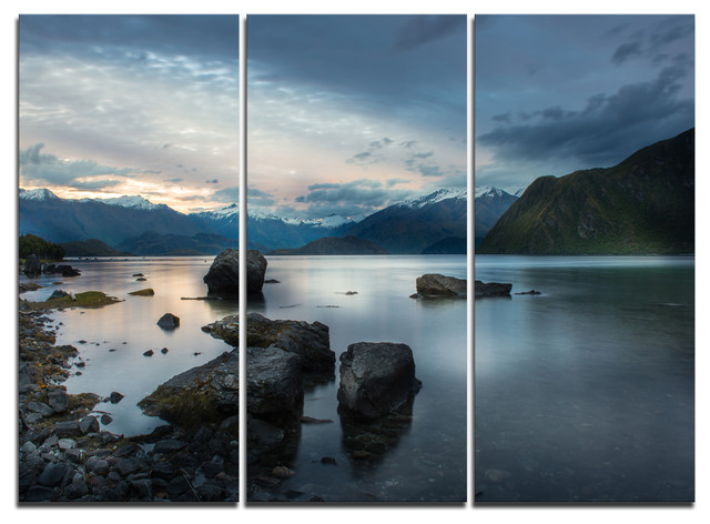"""""""rocks And Distant Cloudy Mountains"""" Wall Art, 3 Panels, 36""""x28""""."""
