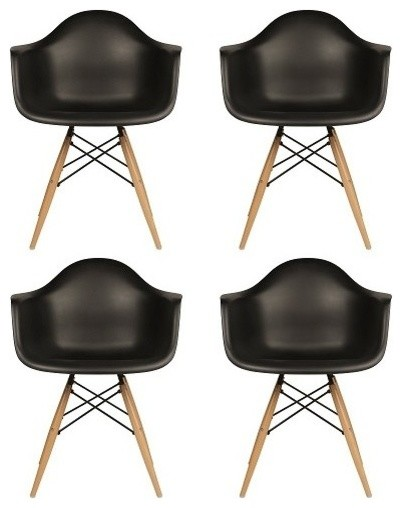 Set Of 4 Daw Plastic Dining Armchair Wood Eiffel Legs