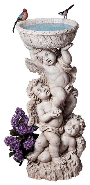 Three Cherubs With Urn Statue Contemporary Garden Statues And Yard Art