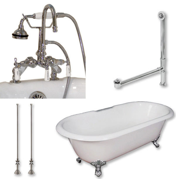 Cast Iron Double Clawfoot Tub 67, Telephone Faucet Polished Chrome Package.