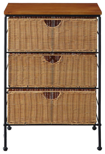 3-Drawer Wicker - Transitional - Accent Chests And ...