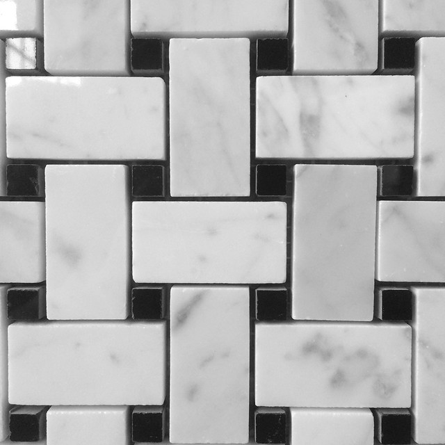 Bianco carrara polished marble basketweave with nero for Modern home decor for less