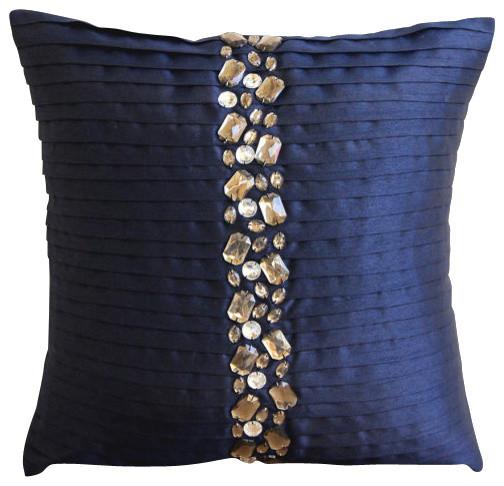 navy blue crystals blue art silk 14 x14 throw pillow covers modern