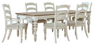 Pine Island 7-Piece Dining Set -With Ladder-Back Chairs