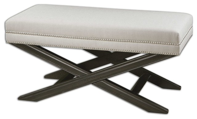 Viera White Bench By Designer Carolyn Kinder.