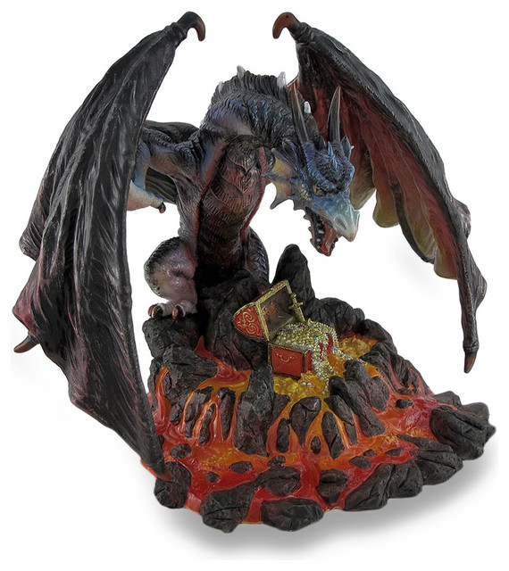 Menacing dragon guarding lava treasure sculptural statue decorative objects and figurines by - Guarding dragon accent table ...
