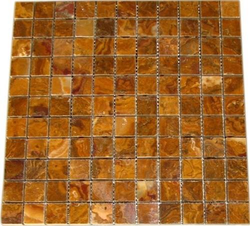 Multi Brown Gold Polished Pattern Mesh Mounted Onyx Tiles