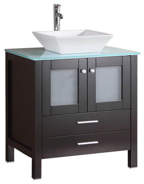 """30 Bathroom Vanity With Top: 30"""" Belvedere Espresso Bathroom Vanity W/ Glass Top"""