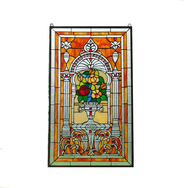 20 5 X 34 75 Flower In Vase Tiffany Style Stained Glass Jeweled Window Panel Victorian Stained Glass Panels By Three Mountain International Inc