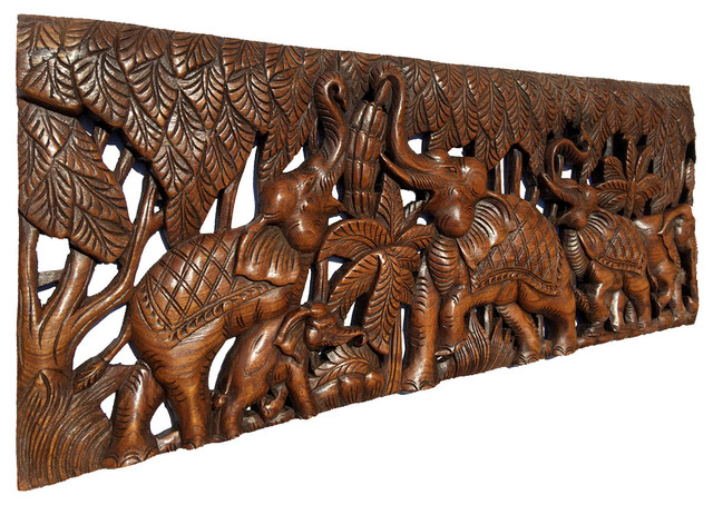 Elephants In Forest Wood Carved Wall Panel Tropical Asiana Home Decor