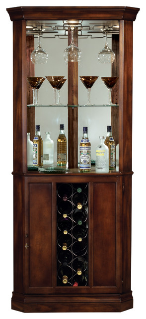 Howard Miller Piedmont Wine And Spirits Corner Home Bar Cabinet In Cherry.