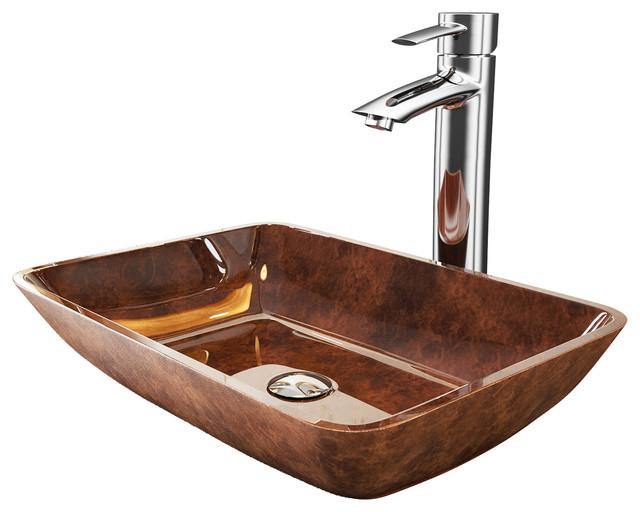 Vigo 18 Russet Glass Vessel Bathroom Sink Set With Shadow Vessel Faucet.