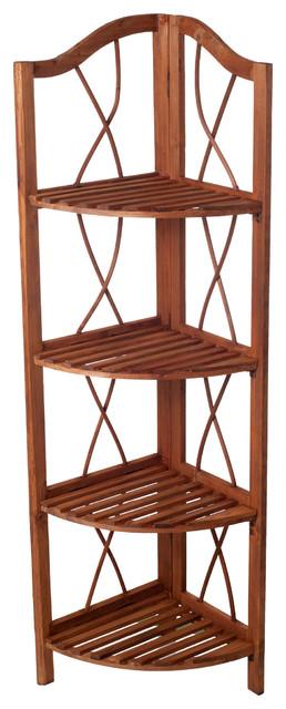 4-Tier Wood Folding Corner Display Shelf by Lavish Home traditional-display -and
