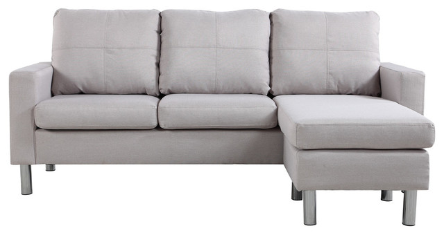 Modern Small Space Reversible Linen Fabric Sectional Sofa, Beige