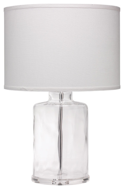 Napa Table Lamp, Clear Hammered Glass With Classic Drum Shade, White Linen