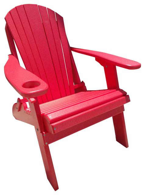 Poly Basic Folding Adirondack Chair, Red Contemporary Adirondack Chairs