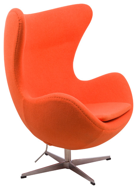 Leisuremod arne jacobsen style egg chair orange wool for Chaise arne jacobsen