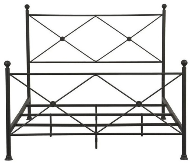 Pemberly Row Queen Metal Bed, Black.