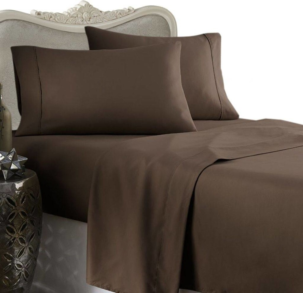 600 Thread Count Egyptian Cotton Solid Bed Sheet Set Contemporary Sheet And Pillowcase Sets By Luxury Egyptian Bedding