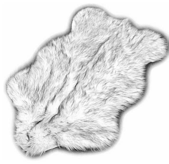 black tip russian wolf premium faux fur area rug