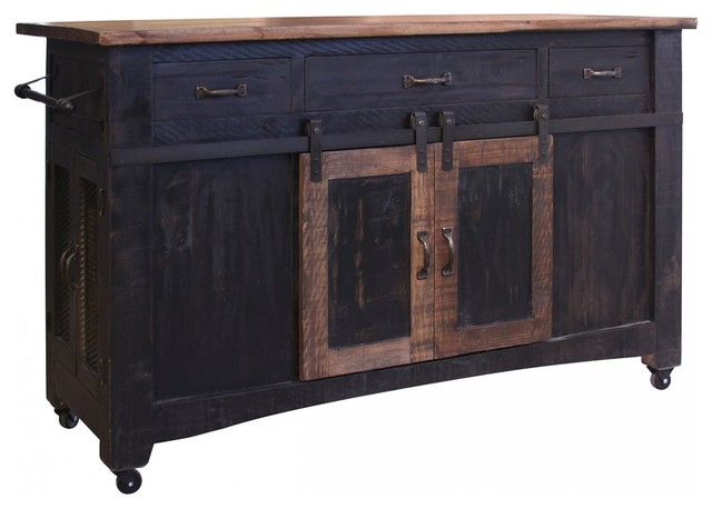 Greenview Kitchen Island, Distressed Black
