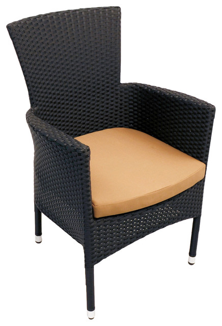 Stockholm Outdoor Dining Chair, Black, Single
