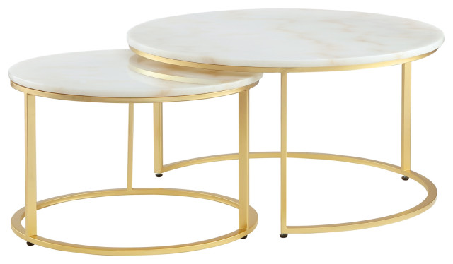 2 Piece Inspired Home Araya Coffee Table Round Marble Stackable Contemporary Coffee Table Sets By Inspired Home Houzz