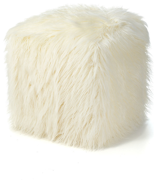 Faux Fur Pouf, Ivory contemporary-footstools-and-ottomans - Faux Fur Pouf, Ivory - Contemporary - Footstools And Ottomans - By