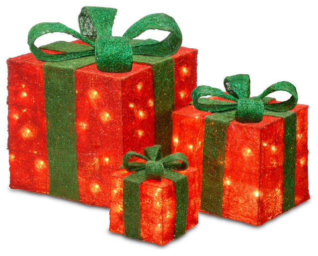 """6"""", 10"""" and 14"""" Assorted Red Sisal Gift Boxes With 20, 20 and 35 Clear Lights"""