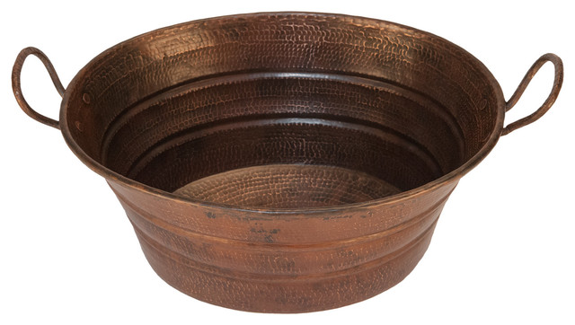 Oval Bucket Vessel Hammered Copper Sink With Handles.