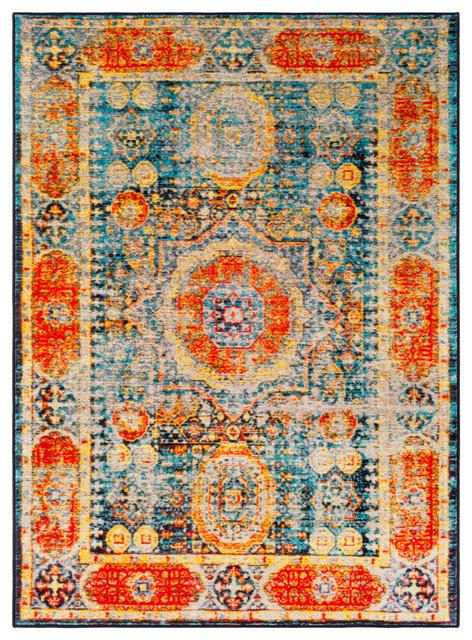 Silk Road Updated Traditional Bright Orange, Aqua Area Rug, 2&x27;x3&x27;.