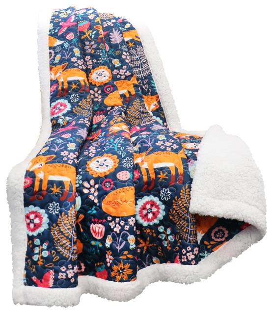 Kendall Fox Throw Blanket, Navy contemporary-throws