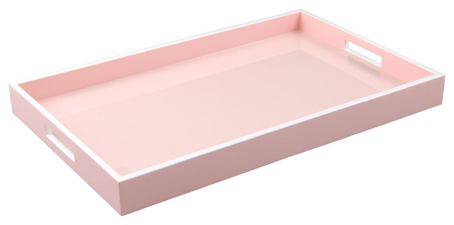 Lacquer Rectangle Tray Paris Pink White Contemporary