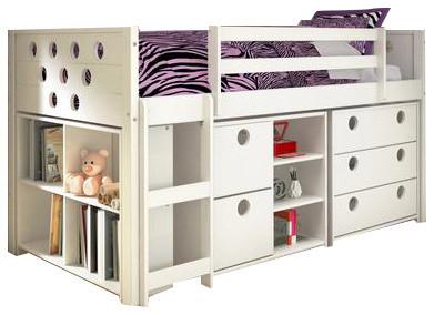 Junior Loft Bed Bookshelves Dresser Storage Drawers In One