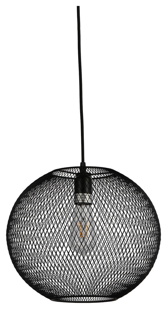 "Esporre 1 Light Pendant, Black, 14""x14"""
