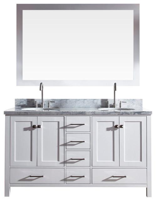 """61"""" Cambridge Double Sink Bathroom Vanity, White."""