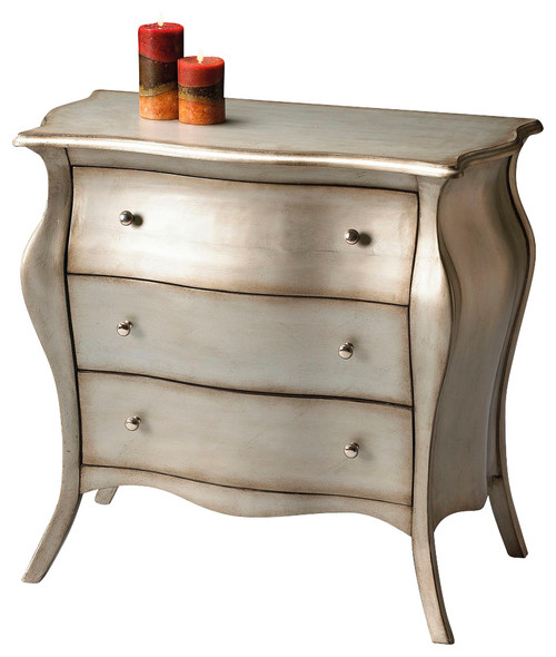 Butler Specialty Bombe Chest, Brushed Pewter