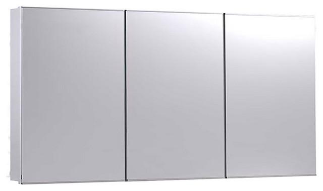 "Tri-View Series Medicine Cabinet, 60""x36"", Bright Annealed Stainless Steel Trim"