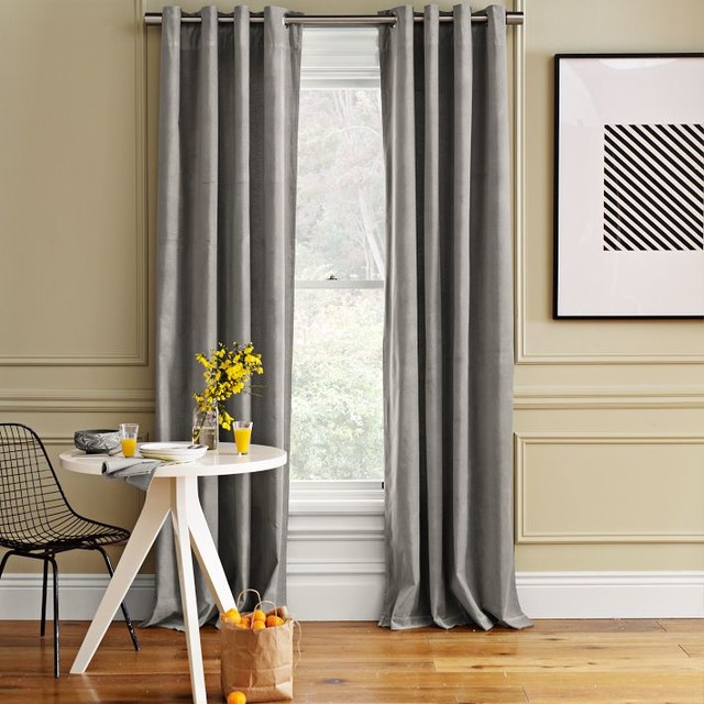 Velvet Window Panel Dove Gray Traditional Curtains By West Elm