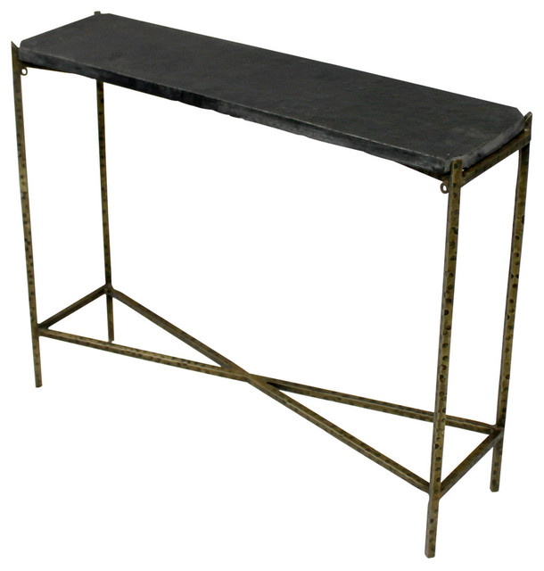 "Venice Kirby Console Table With Stone Top And Textured Iron Base, 32""w X 8""d X 2."