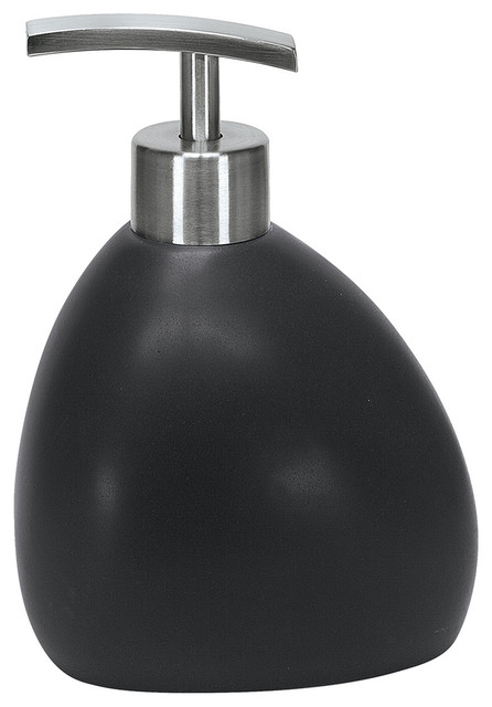 Black Matte Finish Bath Accessories In Unique Shapes Ethno Soap Dispenser Contemporary