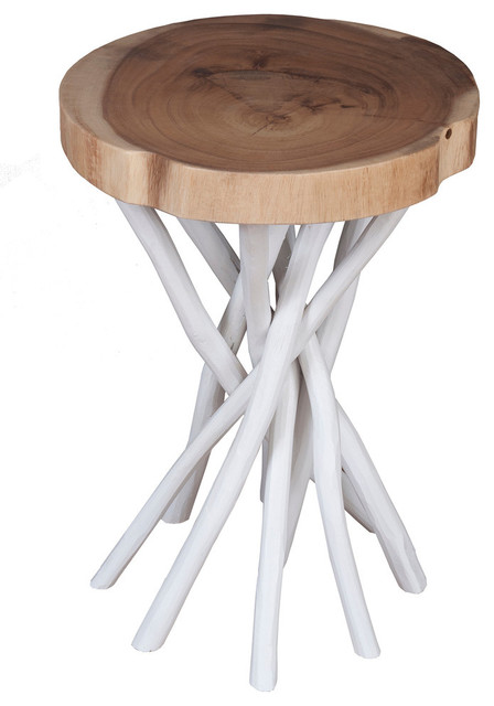 East At Main&x27;s Lancer White Teakwood Round Accent Table.