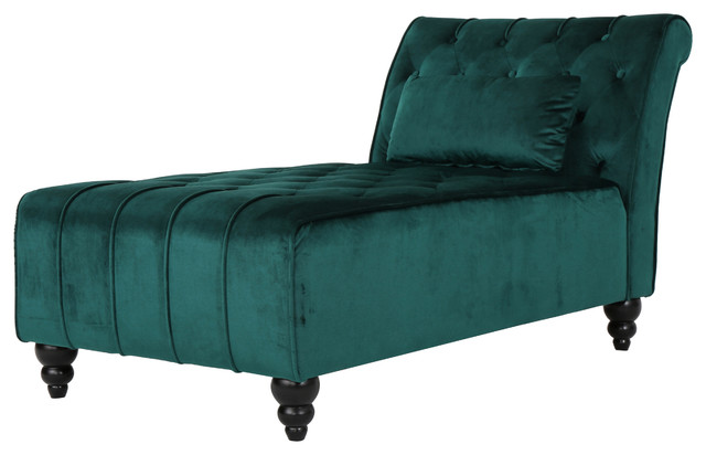 Rafaela Tufted New Velvet Chaise Lounge, Teal.