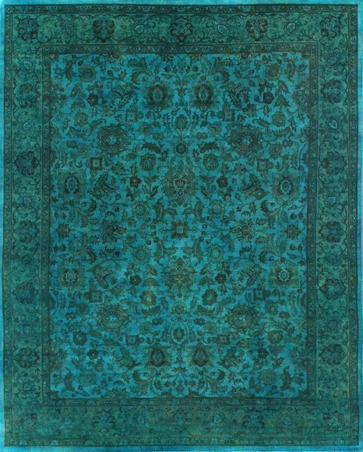 Rugsville Turquoise Wool Overdyed 12250 Rug 8x10 area-rugs