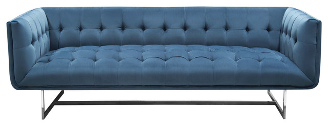 Hollywood Tufted Sofa In Royal Blue Velvet With Metal Leg Contemporary Sofas