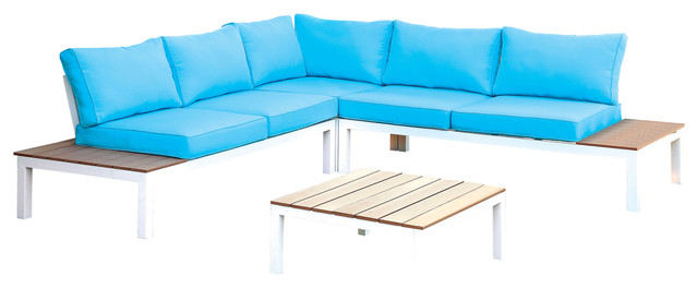 Upson Contemporary Patio Sectional And Table Set Blue White