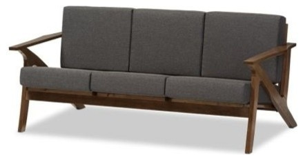 "Modern Gray Fabric And ""walnut"" Brown Wood Living Room 3-Seater Sofa."